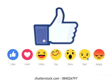 Kiev, Ukraine - February 26, 2016: New Facebook like button 6 Empathetic Emoji Reactions printed on white paper. Facebook is a well-known social networking service.