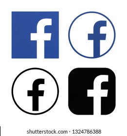 Kiev, Ukraine -February 26, 2019 Collection of facebook logos printed on white paper