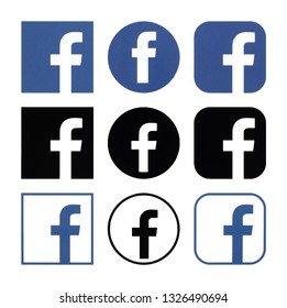 Kiev, Ukraine - February 26, 2019: Collection of  Facebook logos printed on white paper. Facebook is a well-known social networking service. - Image
