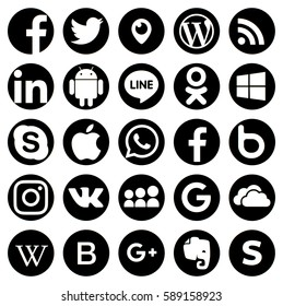 KIEV, UKRAINE - FEBRUARY 27, 2017: Collection of popular social media logos printed on paper: Facebook, Twitter, LinkedIn, Instagram, Tango, WhatsApp, Youtube, Line and other