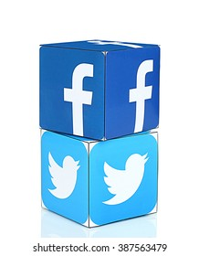 KIEV, UKRAINE - FEBRUARY 29, 2016: Print cube with logotype of social media facebook, twitter on a white background.
