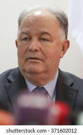KIEV, UKRAINE - February 3, 2016: Ertugrul Apakan. ?eremony of transfer of 20 armored vehicles from the EU to special monitoring mission of the OSCE in Ukraine