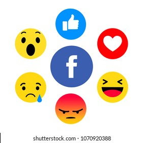 Kiev, Ukraine - February 5, 2018: New Facebook like button 6 Empathetic Emoji. Printed on paper. Facebook is an online social networking service.