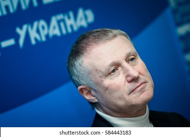 Kiev, Ukraine - February 6, 2009: President of the Football Federation of Ukraine Grigory Surkis during a press conference before the 2012 European Championship