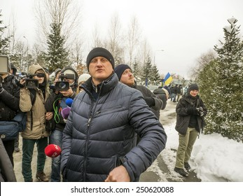 KIEV, UKRAINE - February 7, 2015: AutoMaidan activists held a rally near the estate of billionaire Rinat Akhmetov in the elite Koncha Zaspa.