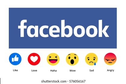 Kiev, Ukraine - February 7, 2017: New Facebook like button 6 Empathetic Emoji. Printed on paper. Facebook is an online social networking service.