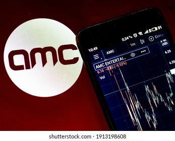 KIEV, UKRAINE - February 9, 2021: In this photo illustration the stock market information of AMC Entertainment Holdings, Inc. displays on a smartphone while the logo of AMC Entertainment Holdings, Inc