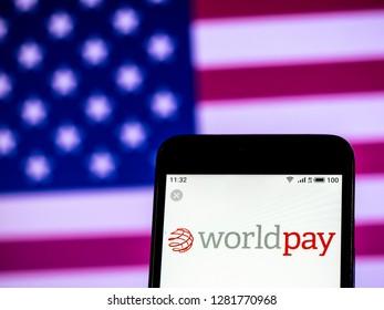 KIEV, UKRAINE - Jan 11, 2019: Worldpay Group  logo seen displayed on smart phone.