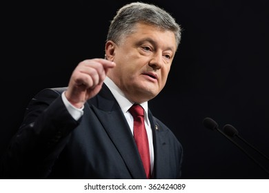 KIEV, UKRAINE - Jan 14, 2016: Annual press conference of the President of Ukraine Petro Poroshenko on the results of 2015 and prospects for of state development