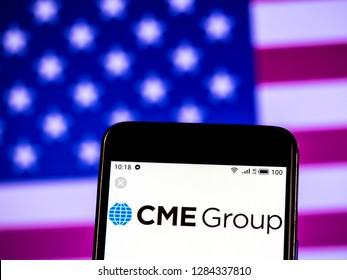 KIEV, UKRAINE - Jan 14, 2019: CME Group Company logo seen displayed on smart phone.
