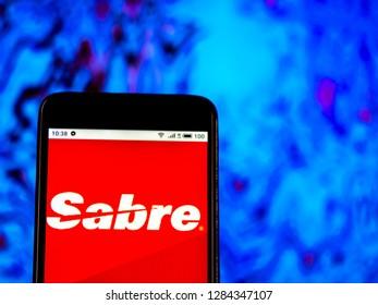 KIEV, UKRAINE - Jan 14, 2019: Sabre Corporation logo seen displayed on smart phone.