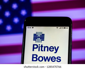 KIEV, UKRAINE - Jan 15, 2019:Pitney Bowes Company logo seen displayed on smart phone.
