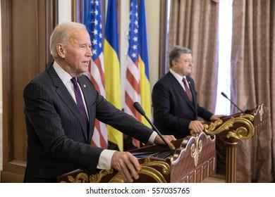 KIEV, UKRAINE - Jan 16, 2017: Vice president of USA Joe Biden during his visit to Kiev and  meeting with President of Ukraine Petro Poroshenko