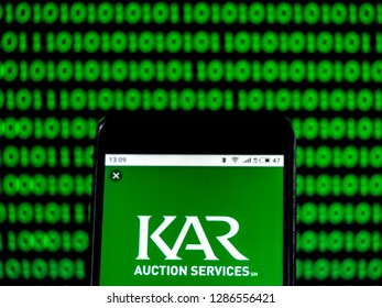 KIEV, UKRAINE - Jan 16, 2019: KAR Auction Services, Inc. Company logo seen displayed on smart phone