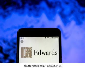 KIEV, UKRAINE - Jan 16, 2019: Edwards Lifesciences Medical device company logo seen displayed on smart phone