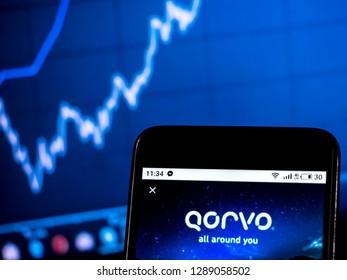 KIEV, UKRAINE - Jan 19, 2019: Qorvo Company  logo seen displayed on smart phone