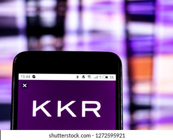 KIEV, UKRAINE - Jan 2, 2019: KKR & Co. Inc. Private equity company logo seen displayed on smart phone