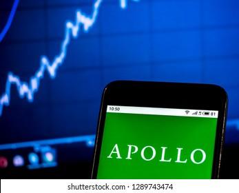 KIEV, UKRAINE - Jan 20, 2019: Apollo Global Management Private equity company logo seen displayed on smart phone