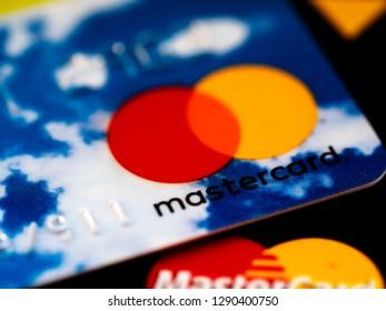 KIEV, UKRAINE - Jan 21, 2019: Close up of credit cards, Mastercard