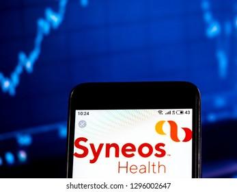 KIEV, UKRAINE - Jan 24 2019:  Syneos Health Company logo seen displayed on smart phone