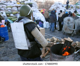 KIEV, UKRAINE - JAN 26, 2014: Mass anti-government protests in the center of Kiev on Instytutska St.