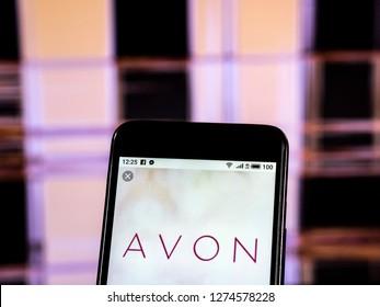KIEV, UKRAINE - Jan 4, 2019:  Avon Cosmetics logo seen displayed on smart phone