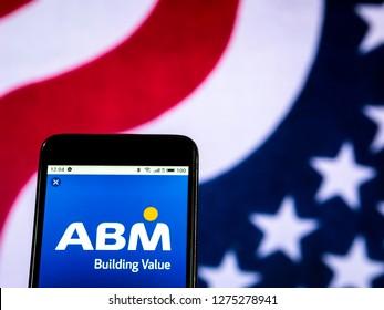 KIEV, UKRAINE - Jan 5, 2019: ABM Industries Facility management company logo seen displayed on smart phone