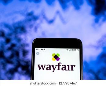 KIEV, UKRAINE - Jan 7, 2019: Wayfair Company logo seen displayed on smart phone