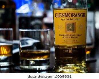 KIEV, UKRAINE - Jan28, 2019:   Glenmorangie Single Malt Scotch Whisky seen at the bar counter
