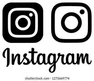 Kiev, Ukraine - January 01, 2019: Black Instagram new logo and icon printed on a white paper. Instagram is an online mobile photo-sharing, video-sharing service