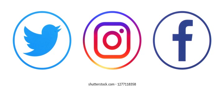 KIEV, UKRAINE - January 01, 2019: This is a photo collection of popular social media logos printed on paper: Facebook, Twitter, LinkedIn, Pinterest, Instagram, Youtube, Line and other