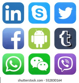 KIEV, UKRAINE - JANUARY 04, 2017: Collection of popular social media logos printed on paper: Facebook, Twitter, WeChat, Viber, Skype, WhatsApp, Tumblr, LinkedIn, and Android