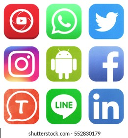 KIEV, UKRAINE - JANUARY 05, 2017: Collection of popular social media logos printed on paper: Facebook, Twitter, LinkedIn, Instagram, Tango, WhatsApp, Youtube, Line and Android