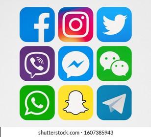 Kiev, Ukraine - January 06, 2020: New Facebook, Twitter, Viber, WhatsApp, Snapchat, Messenger, Instagram,  Telegram, WeChat, printed on paper.