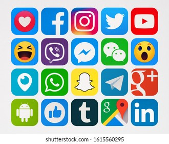 Kiev, Ukraine - January 06, 2020: This is a photo. New Facebook, Twitter, Viber, WhatsApp, Snapchat, Messenger, Instagram,  Telegram, WeChat, YouTube, Google Plus, Android,  LInkedin printed on paper.