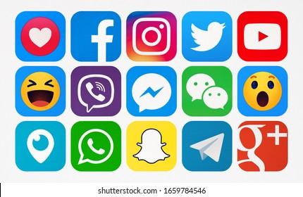 Kiev, Ukraine - January 06, 2020: New Facebook, Twitter, YouTube,Viber, WhatsApp, Snapchat, Messenger, Instagram,  Telegram, WeChat, Periscope, Google Maps, Google Plus printed on paper.
