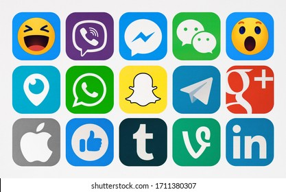 Kiev, Ukraine - January 06, 2020: New Facebook; Viber; WhatsApp; Snapchat; Messenger; Periscope; Android; Tumblr; Telegram; WeChat;  Telegram, WeChat, LInkedin printed on paper.