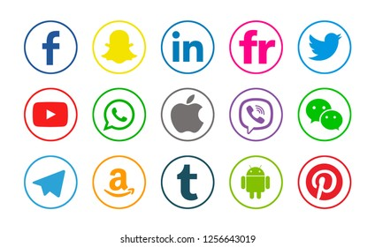 Kiev, Ukraine - January 08, 2018: Set of popular social media icons printed on white paper: Facebook, Snapchat, Twitter, Apple, Youtube, Linkedin, Pinterest, WhatsApp, Viber, Telegram,Tumblr,Amazon.