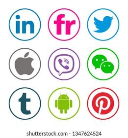 Kiev, Ukraine - January 08, 2018: Set of popular social media icons printed on white paper: Linkedin, Flickr, Twitter, Apple, Viber, WeChat, Tumblr, Android, Pinterest.