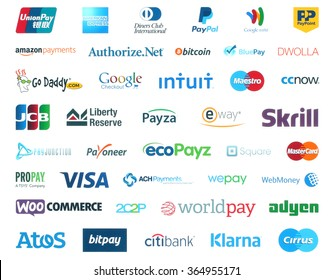 Kiev, Ukraine - January 11, 2016: Collection of popular payment system logos printed on white paper:PayPal, Google Wallet, Bitcoin, Mastercard, Maestro, Skrill, JCB, Payoneer, Visa, Worldpay and other
