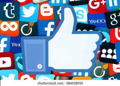 Kiev, Ukraine - January 11, 2016: Background of famous social media icons with Facebook like thumb up such as: Facebook, Twitter, Blogger, Linkedin, Tumblr, Myspace and others, printed on paper.