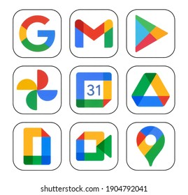 Kiev, Ukraine - January 12, 2021: Icons set of Google services: Google Search, Gmail, Play Store, Photos, Calendar, Drive, and Duo, printed on white paper