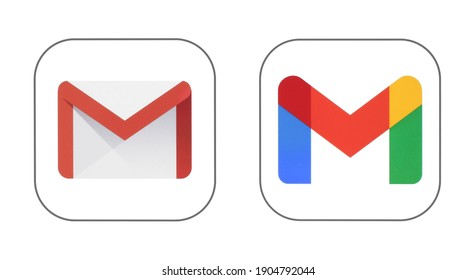 Kiev, Ukraine - January 12, 2021: Google Mail service - GMail old and new icons printed on white paper. Gmail is a free email service developed by Google