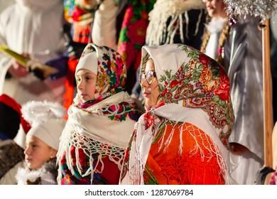 Kiev, Ukraine - January 13, 2018: Amateur folklore collective perform Christmas carols at Poshtova Square