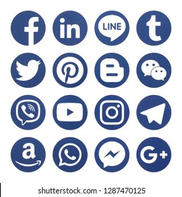 KIEV, UKRAINE - January 14, 2019: This is a photo collection of popular social media logos printed on paper: Facebook, Twitter, LinkedIn, Instagram, Tango, WhatsApp, Youtube, Line and other