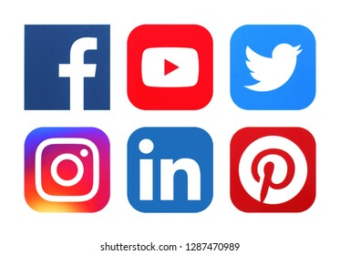 Facebook Twitter Linkedin Logo Stock Photos Images