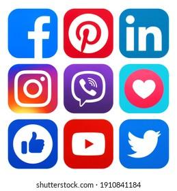 Kiev, Ukraine - January 14, 2021: Set of most popular social media logos printed on paper: Facebook, Instagram, Twitter and other
