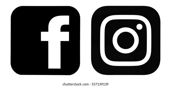 Kiev, Ukraine - January 15, 2017: Set of Facebook and Instagram logos, printed on paper and placed on white background.