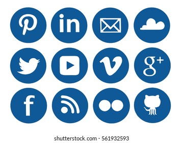 Kiev, Ukraine - January 15, 2017: Collection of popular social media logos printed on paper: Facebook, Twitter, Google Plus, Pinterest, LinkedIn, YouTube and others.