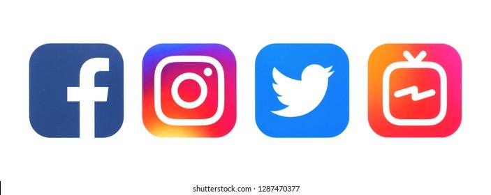 Kiev, Ukraine -  January 16, 2019: Collection of popular social media logos printed on white paper: Facebook, Twitter, Instagram, IGTV